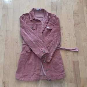 Pink corduroy mini dress